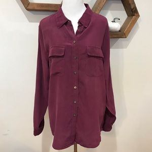 Two by Vince Camuto Purple Button Front Silk Shirt
